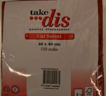 Take Dis servet 2-laags pak 150 st wit