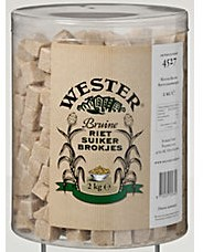 Wester bruine rietsuiker brokjes emmer 2 kg