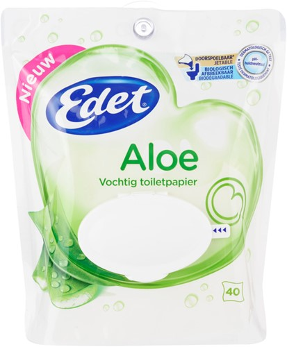 Edet toiletpapier vochtig pak 8 x 40 st aloe vera
