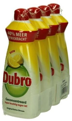 Dubro afwasmiddel fles 4 x 550 ml extra citroen