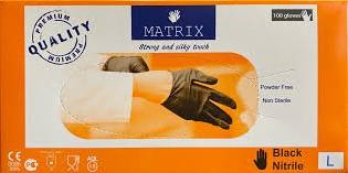 Matrix nitrile handschoen zwart doos 100 stuks maat L
