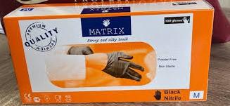 Matrix nitrile handschoen zwart doos 100 stuks maat M