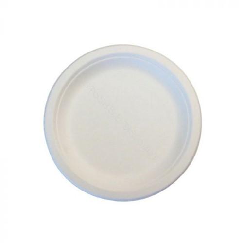 BIO Bord  suikerriet 18 cm beige/wit 500 st